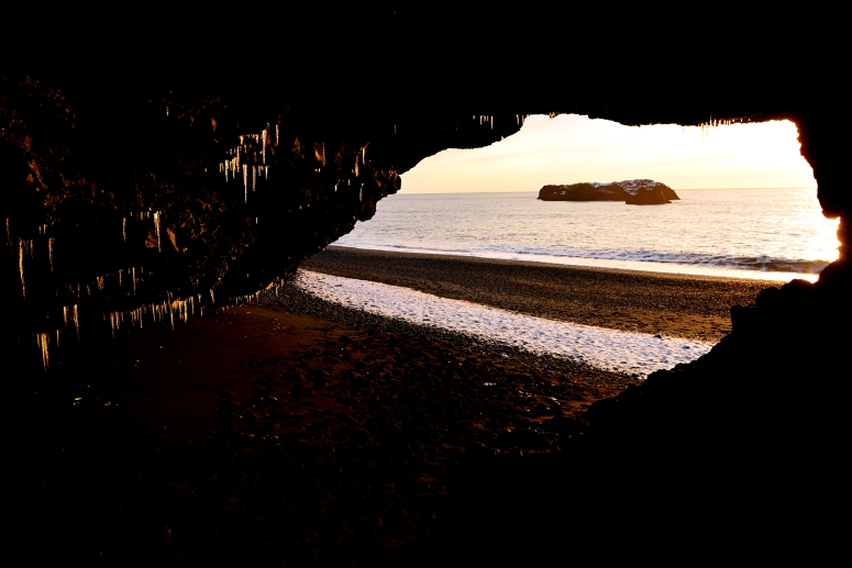 Icicles beach cave black sand ice sunset