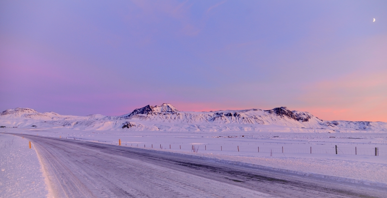 Route 1 South Iceland Reykjavik Vik Purple Skies