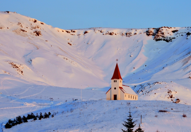 Vik chapel snow church red Iceland