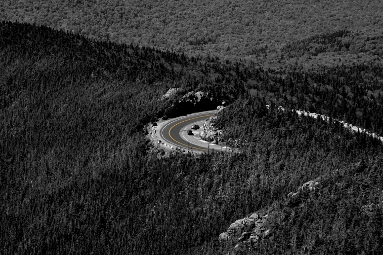 Winding roads through conifers make an easy journey to the top of Whiteface