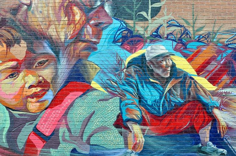 Colorful Graffiti art in Toronto's Chinatown