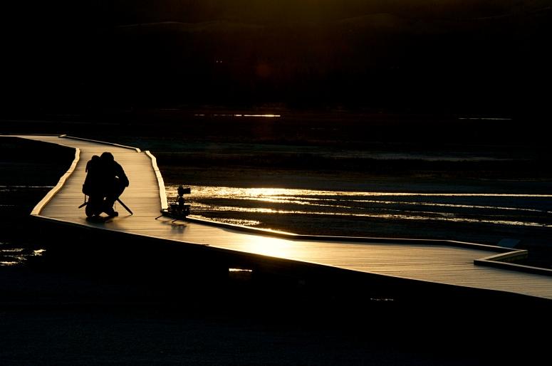 DNXB dongnanxibei Grand Prismatic Spring Photographer sunset boardwalk geyser