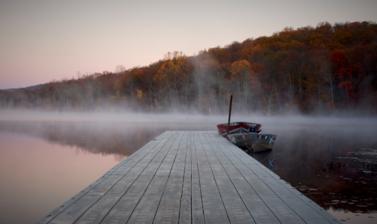 The 7AM fog-laced sunrise at Long Pond Ironworks