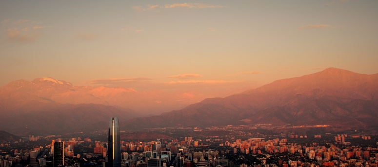 Sunset Cerro San Cristobal Chile Santiago Costanera Center Andes Andean Colors Sunrise DNXB dongnanxibei Nikon D90