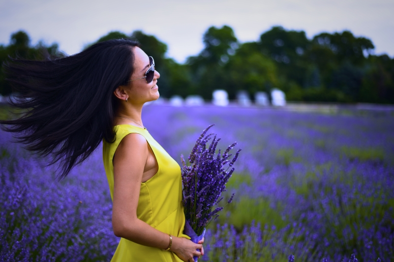 Yellow Dress Hair Wind Lavender By The Bay North Fork Long Island Nikon Photography DNXB dongnanxibei