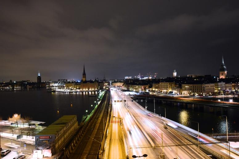 Hilton Slussen Balcony View Gamla Stan Stockholm Night DNXB dongnanxibei