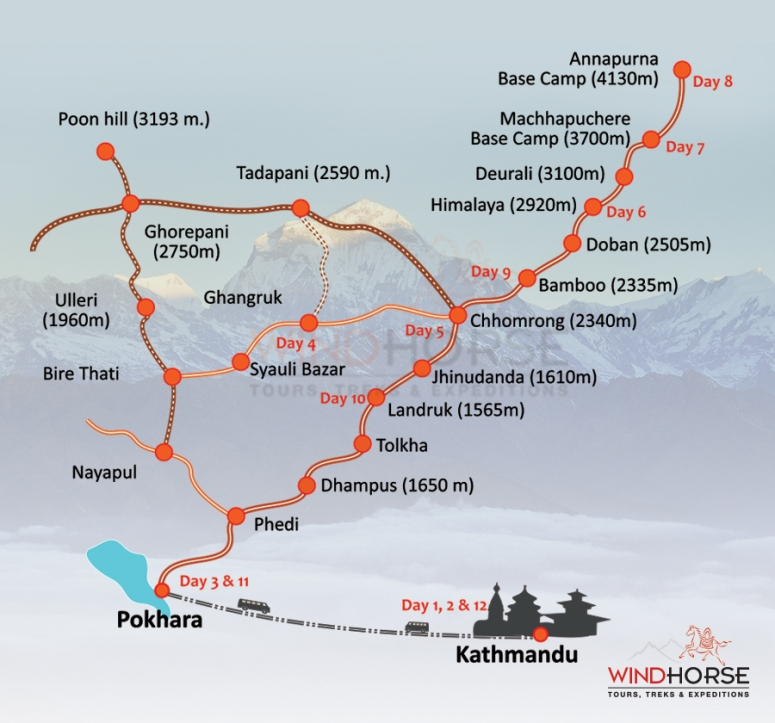 Annapurna Base Camp Map DNXB Dongnanxibei