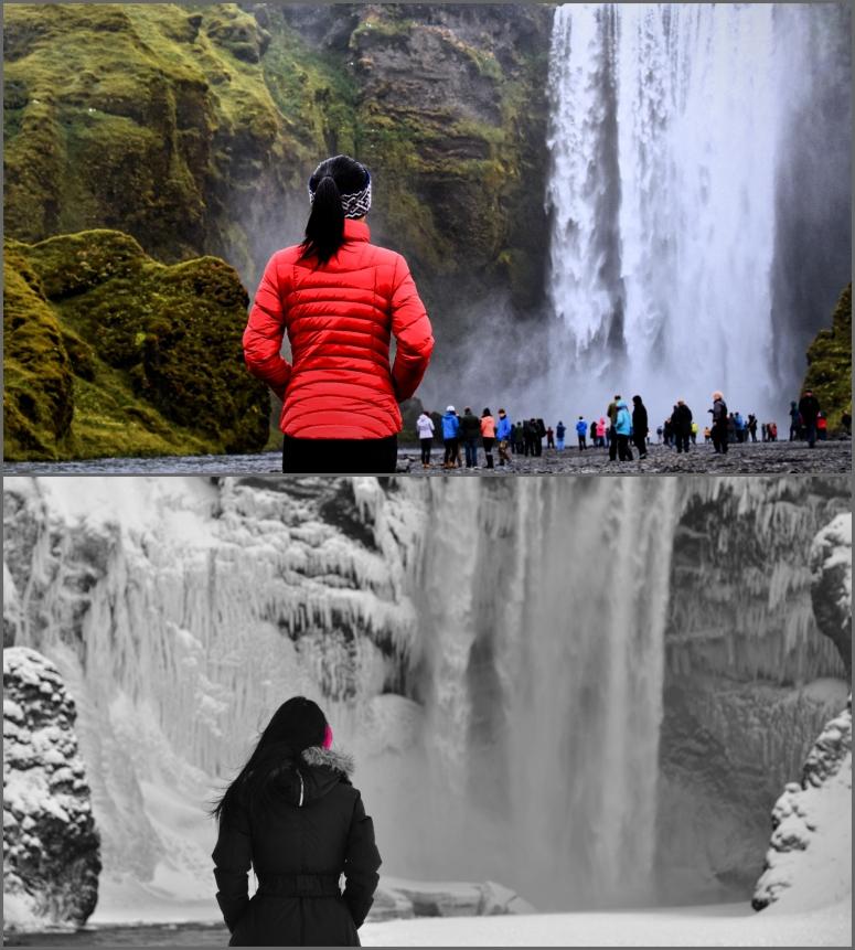 Cindy Skogafoss Winter Summer Iceland DNXB dongnanxibei