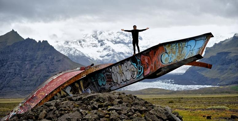 Mangled Steel Roadside Iceland Grafitti DNXB dongnanxibei