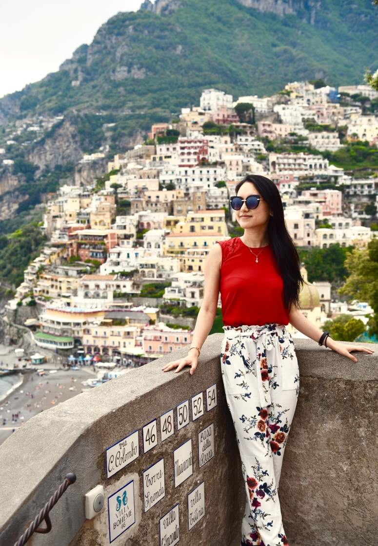 Flower Pants Positano Town Amalfi Coast DNXB dongnanxibei