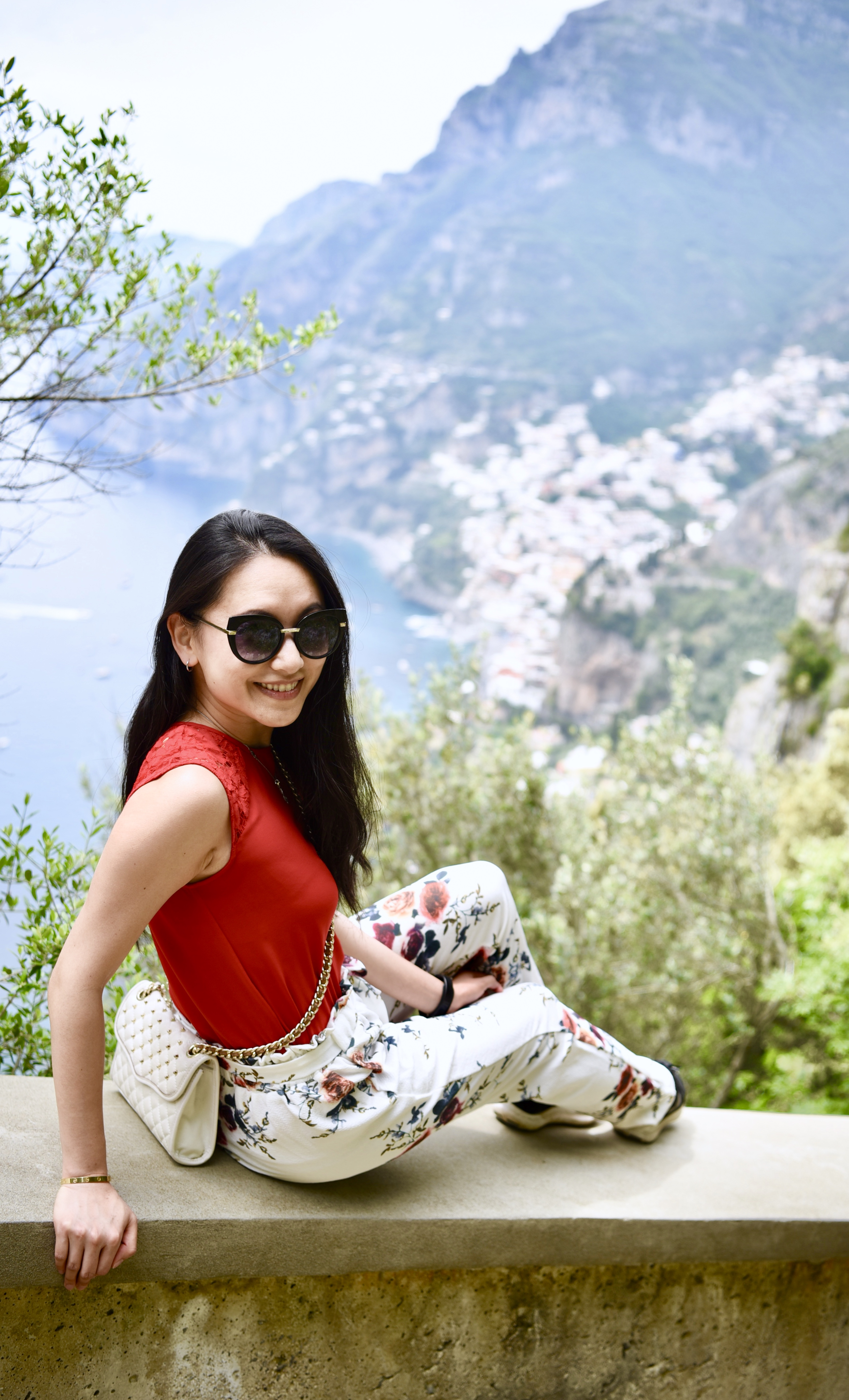 Sentiero Degli Dei Hike Flower Pants Positano Town Amalfi Coast DNXB dongnanxibei